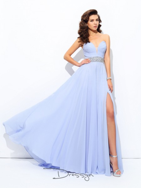 A-Line/Princess Chiffon Sweetheart Sleeveless Beading Long Dresses