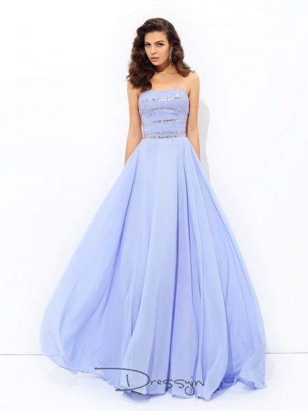 A-Line/Princess Chiffon Strapless Sleeveless Beading Long Dresses