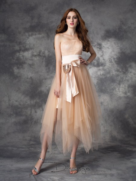 A-Line/Princess Elastic Woven Satin Strapless Sleeveless Bowknot Ankle-Length Dresses