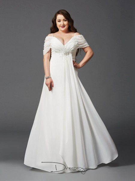 A-Line/Princess Chiffon Off-the-Shoulder Short Sleeves Ruched Long Plus Size Dresses