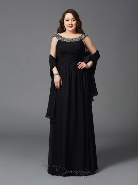 A-Line/Princess Chiffon Scoop Sleeveless Rhinestone Long Plus Size Dresses