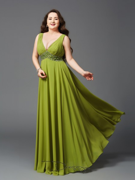A-Line/Princess Chiffon Straps Sleeveless Rhinestone Long Plus Size Dresses