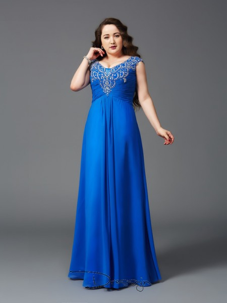 A-Line/Princess Chiffon Straps Short Sleeves Beading Long Plus Size Dresses