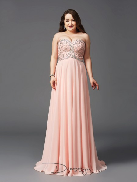 A-Line/Princess Chiffon Sweetheart Sleeveless Beading Long Plus Size Dresses