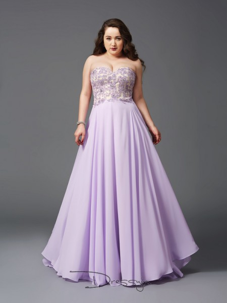 A-Line/Princess Chiffon Sweetheart Sleeveless Lace Long Plus Size Dresses