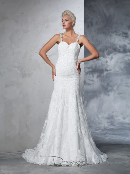Trumpet/Mermaid Lace Spaghetti Straps Sleeveless Lace Chapel Train Wedding Dresses