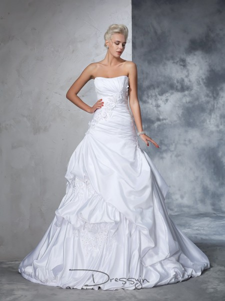 Ball Gown Satin Strapless Sleeveless Applique Chapel Train Wedding Dresses