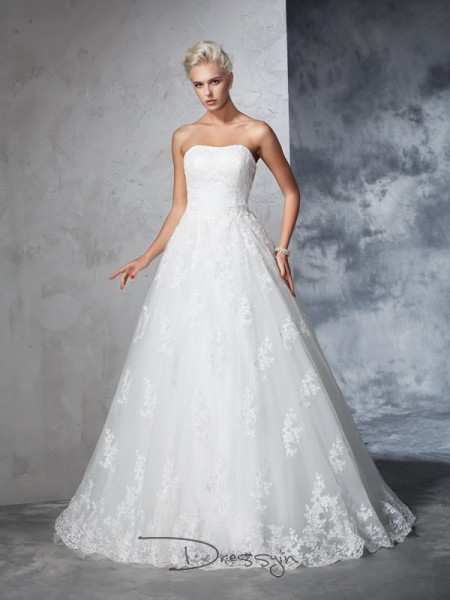 Ball Gown Lace Strapless Sleeveless Lace Court Train Wedding Dresses