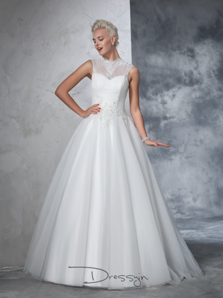 Ball Gown Net High Neck Sleeveless Applique Long Wedding Dresses