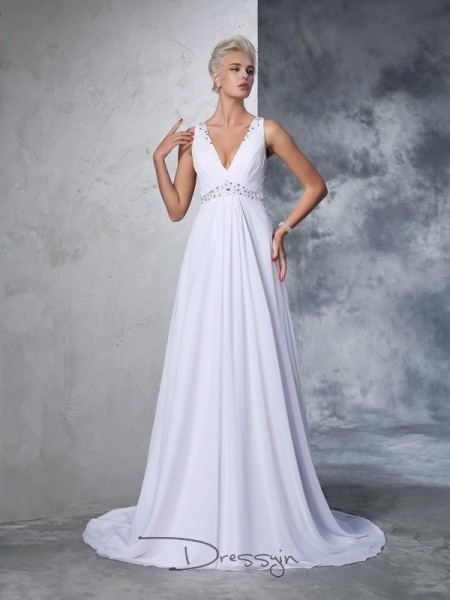 A-Line/Princess Chiffon V-neck Sleeveless Beading Cathedral Train Wedding Dresses