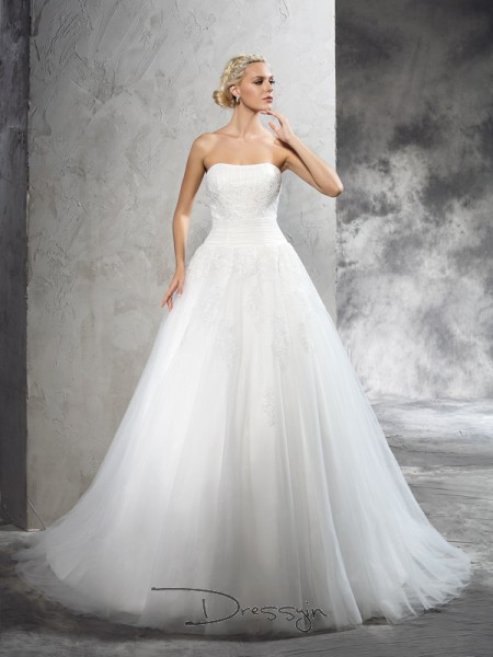 Ball Gown Satin Strapless Sleeveless Applique Court Train Wedding Dresses
