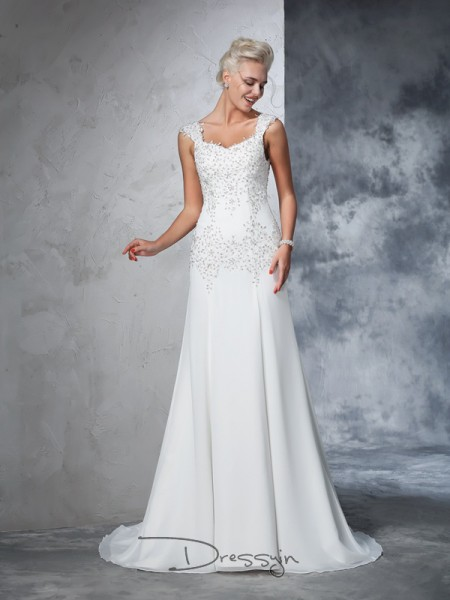 A-Line/Princess Chiffon Straps Sleeveless Beading Court Train Wedding Dresses