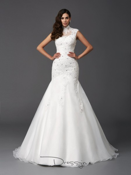Trumpet/Mermaid Organza High Neck Sleeveless Beading Long Wedding Dresses