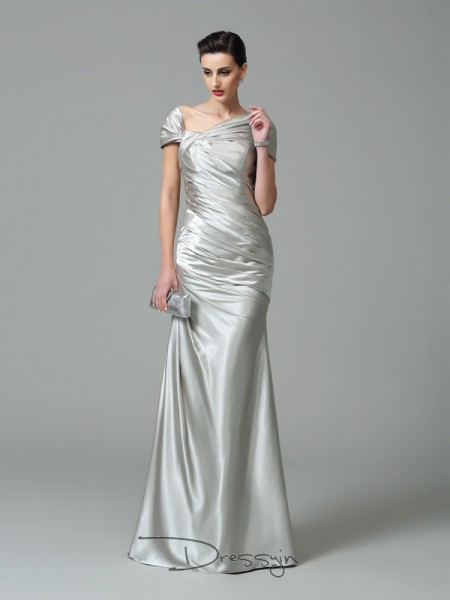 Sheath/Column Silk like Satin Off-the-Shoulder Sleeveless Pleats Long Dresses