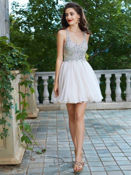 A-Line/Princess Straps Chiffon Sleeveless Rhinestone Short Dresses