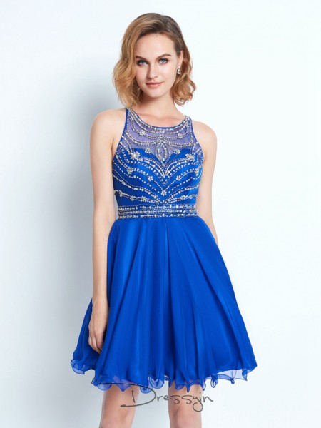 A-Line/Princess Scoop Chiffon Sleeveless Beading Short Dresses