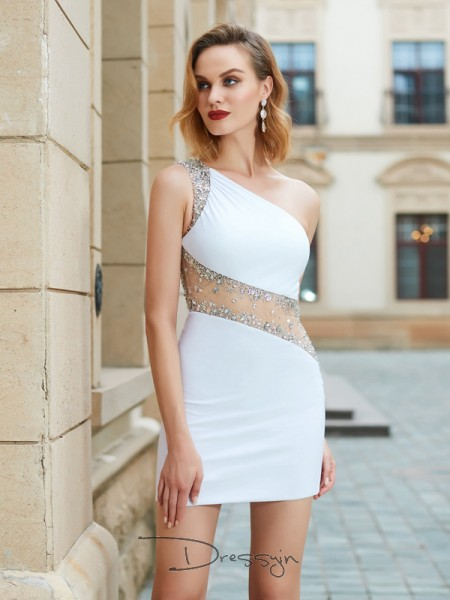 Sheath/Column One-Shoulder Net Sleeveless Beading Short Dresses
