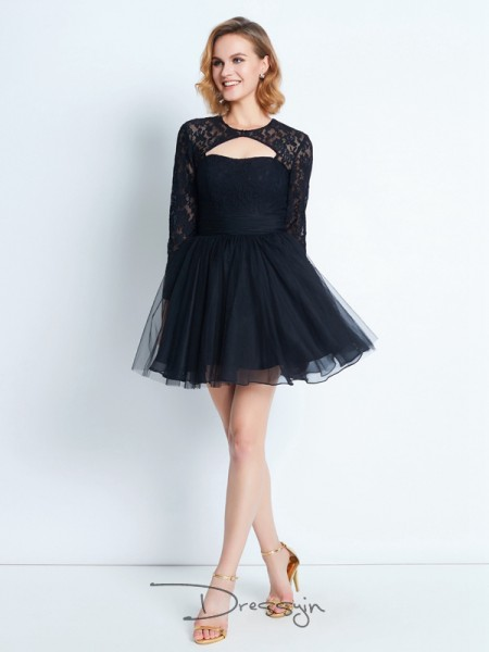 A-Line/Princess High Neck Net Long Sleeves Lace Short Dresses