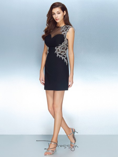 Sheath/Column Jewel Net Short Sleeves Crystal Short Dresses