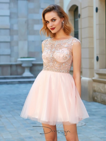 A-Line/Princess Scoop Net Short Sleeves Beading Short Dresses