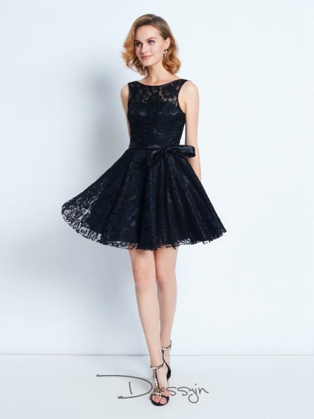 A-Line/Princess Scoop Lace Sleeveless Sash/Ribbon/Belt Short Dresses