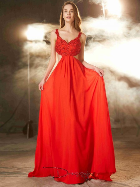A-Line/Princess Applique Straps Sleeveless Chiffon Long Dress