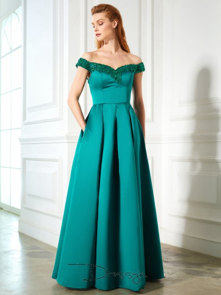 A-Line/Princess Sequin Off-the-Shoulder Sleeveless Satin Long Dress