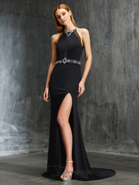 Sheath/Column Beading High Neck Sleeveless Spandex Long Dress