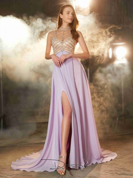 A-Line/Princess Crystal High Neck Sleeveless Chiffon Long Dress