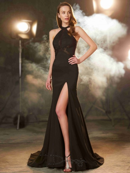 Sheath/Column Beading Jewel Sleeveless Elastic Woven Satin Long Dress