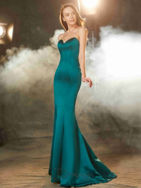 Trumpet/Mermaid Ruched Sweetheart Sleeveless Satin Long Dress