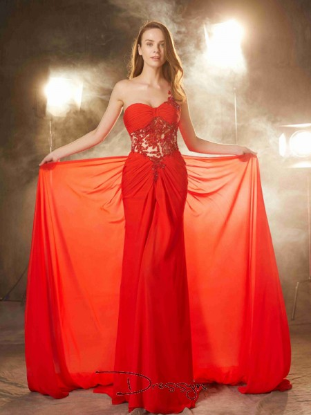 Sheath/Column Beading One-Shoulder Sleeveless Chiffon Long Dress
