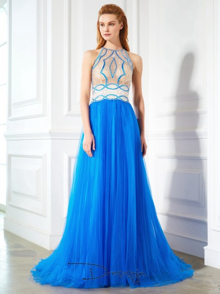 A-Line/Princess Beading Jewel Sleeveless Net Long Dress