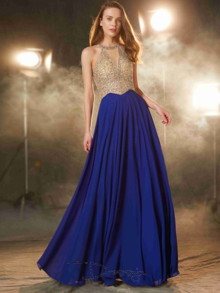 A-Line/Princess Crystal Scoop Sleeveless Chiffon Long Dress