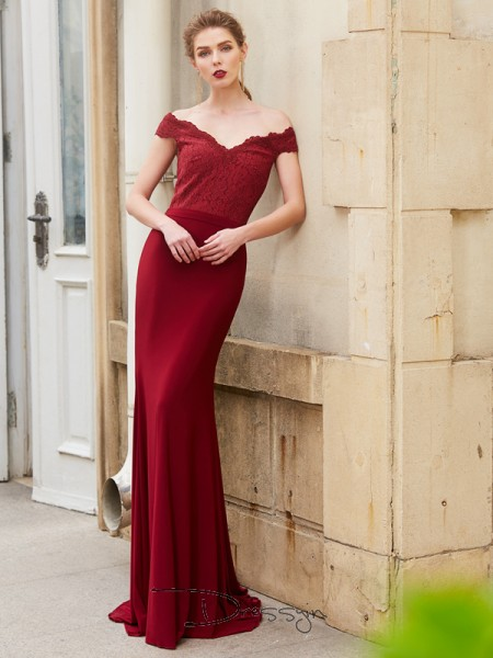 Trumpet/Mermaid Off-the-Shoulder Sleeveless Spandex Long Dress