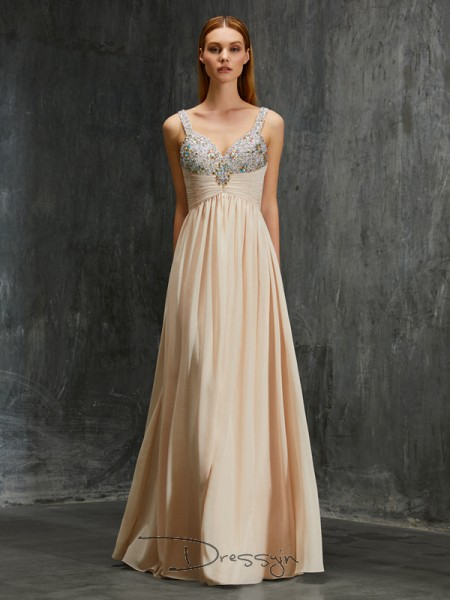 A-Line/Princess Beading Spaghetti Straps Sleeveless Chiffon Long Dress