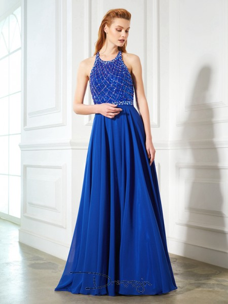 A-Line/Princess Beading Jewel Sleeveless Chiffon Long Dress