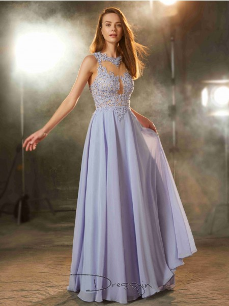 A-Line/Princess Applique Scoop Sleeveless Chiffon Long Dress