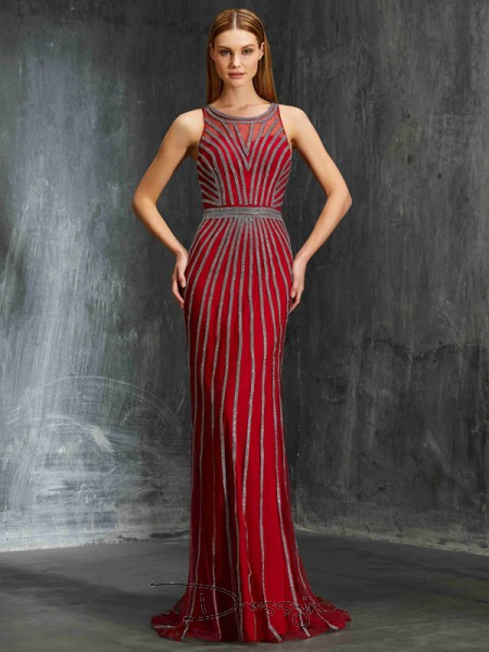 Sheath/Column Beading Scoop Sleeveless Net Long Dress