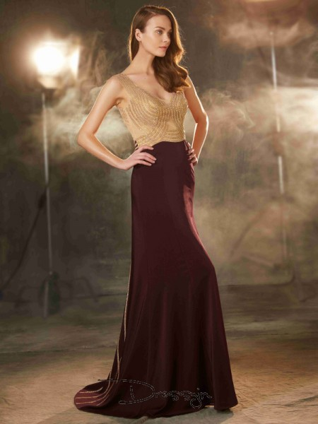 Sheath/Column Beading Straps Sleeveless Jersey Long Dress