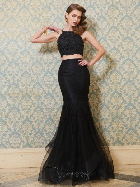 Trumpet/Mermaid Applique Spaghetti Straps Sleeveless Tulle Long Dress