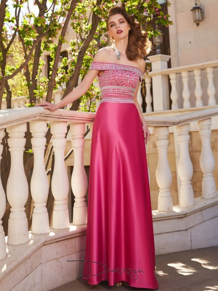 A-Line/Princess Beading Off-the-Shoulder Sleeveless Satin Long Dress