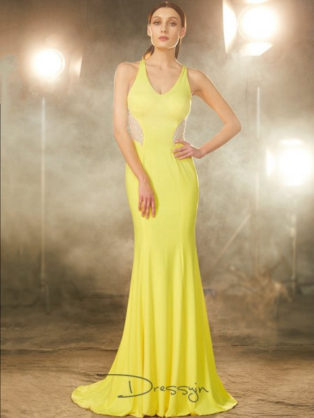 Trumpet/Mermaid Beading V-neck Sleeveless Spandex Long Dress