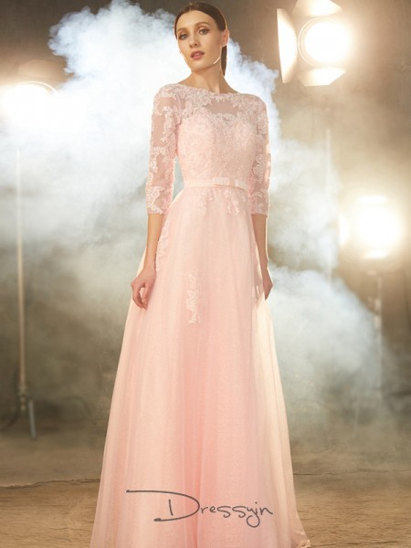 A-Line/Princess Applique Bateau 1/2 Sleeves Tulle Long Dress