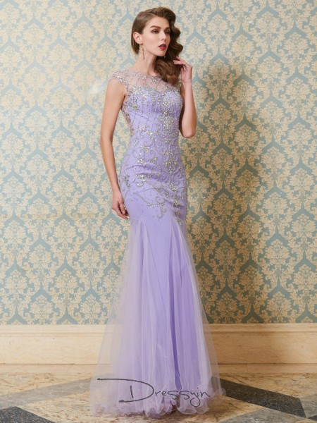 Trumpet/Mermaid Beading Scoop Sleeveless Tulle Long Dress