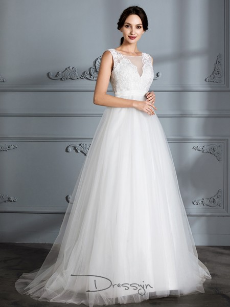 A-Line/Princess Tulle Sleeveless V-neck Long Wedding Dresses