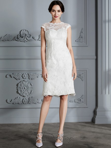 A-Line/Princess Satin Sleeveless Lace Scoop Knee-Length Wedding Dresses