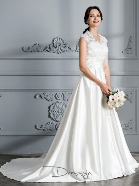 Ball Gown Satin Sleeveless V-neck Court Train Wedding Dresses