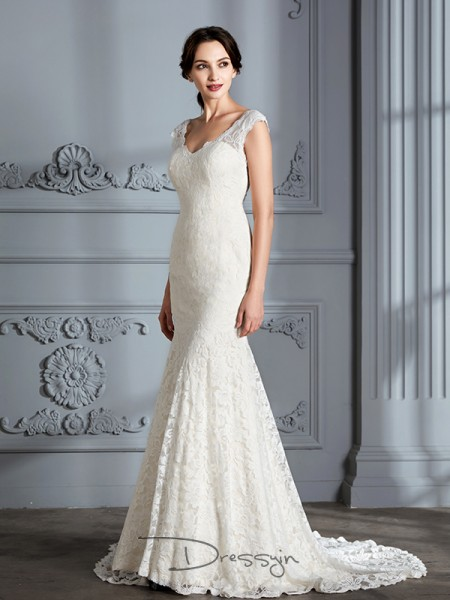 Trumpet/Mermaid Lace Sleeveless V-neck Long Wedding Dresses