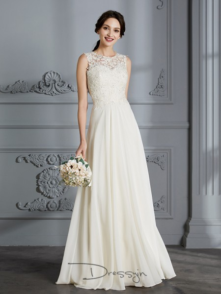 A-Line/Princess Chiffon Sleeveless Scoop Long Wedding Dresses
